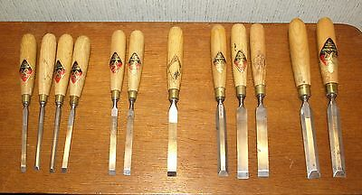 Large Lot Set of 12 Vintage J Tyzack & Son 3-Leg Firmer Chisels -made in England