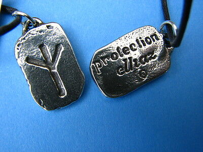 ELHAZ RUNE Pewter Necklace The SHIELD Protection Wicca Pagan Asatru Viking