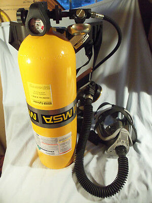MSA SCBA Self Contained Breathing Apparatus with tank and low air warning bell