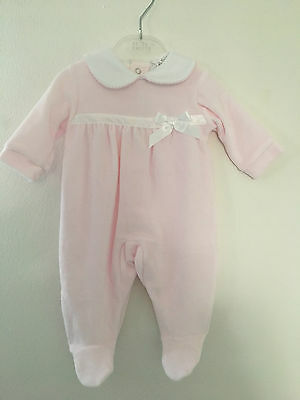 Baby Girls Pink Velour Bow Trim Romper 1 - 6 Months