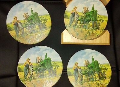 John Deere Absorbent Stoneware Coasters Set of 4 with Wood Coaster Holder GUC
