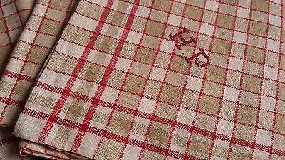 old unused red/brown checkered linen kitchen Towel