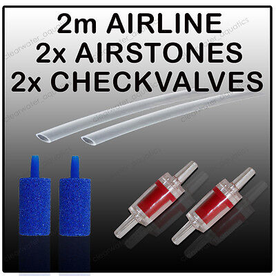 2m Airline Air Stone Check Non Return Valve CV4 Aquarium Air Pump Accessory Kit