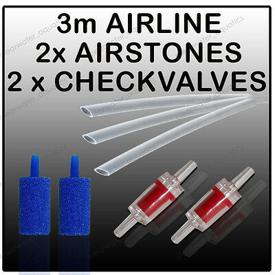 3m Airline Air Stone Check Non Return Valve Aquarium Air Pump Accessory Kit CV4