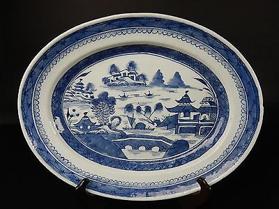 Antique Chinese Export Blue and White Canton Oval Platter 14.75 inches