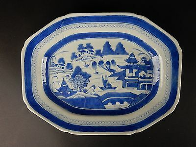 Antique Chinese Export Blue and White Canton  Platter 11.75 inches