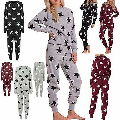New Ladies Womens Star Loungewear Tracksuit Jogging Casual Jogsuit 2Piece Sets