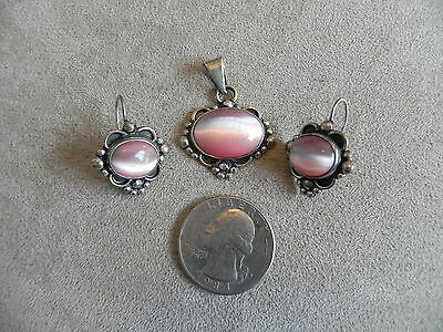 Pink Fiber Optic & Sterling Silver Earrings & Pendant SET Taxco Mexico