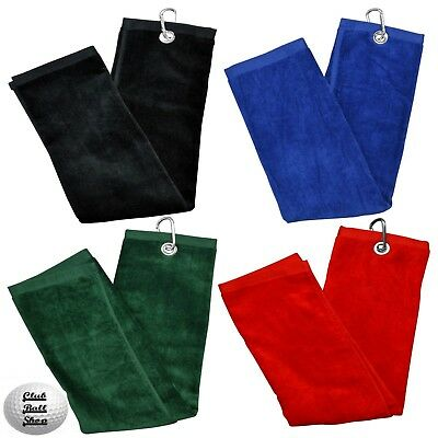 Longridge Luxury 3 Fold Golf Towel Towels 100% Cotton Black Blue Green Red New