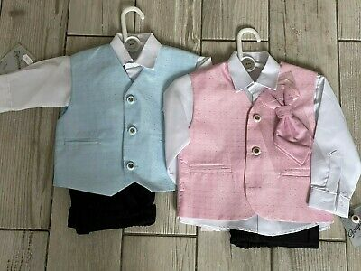 Baby/boys Special Occasion 4 Pcs Suit Lilac-Pink-Blue Shirt/waistcoat/tie Set