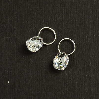 18K Solid White Gold Faceted Rose Cut Diamond Teardrop Briolette Charms PAIR