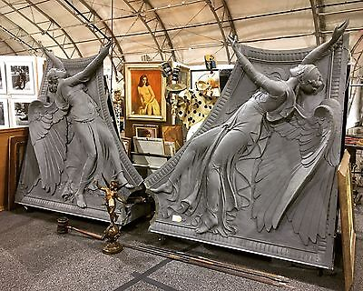 Incredible Rare Pair of Bronze Angels Architectural Salvage