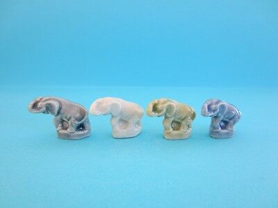 Lovely Miniatures Wade Lil' Bits *blue, Green, White And Grey* Elephants, 2003