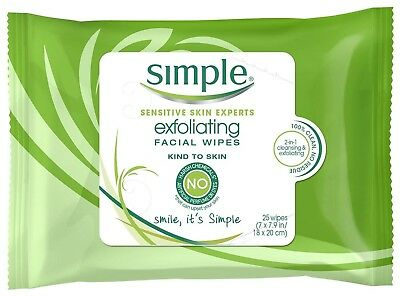 Simple Facial Wipes, Exfoliating, 25 Count