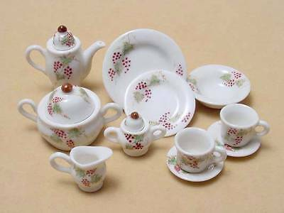 Dollhouse Miniature Porcelain Grape Design 9 Pieces Dinner Very Nice *Mint*