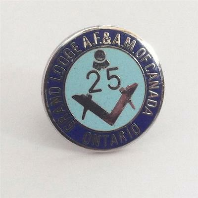 Vintage Grand Lodge A.F&A.M of Canada Ontario 25yr Enameled Lapel Pin