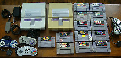 nintendo snes 2x console lot with 13 games 3x controllers very clean no dust