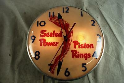 Sealed Power Piston Rings Clock Works Keeps Time Original Gas Oil Sign Advertise