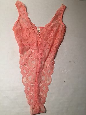 Vintage Victoria's Secret Peach Lace Thong Back Lingerie Teddy Small NWT