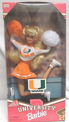 UNIVERSITY OF MIAMI  CHEERLEADER BARBIE DOLL, NEW, SEALED IN BOX 1990s.