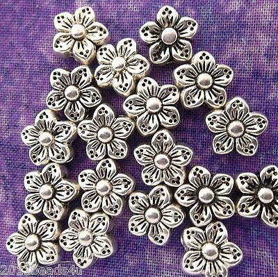 Antique Silver Alloy Metal Cherry Flower Beads 18 Pieces 8.6mm #0293