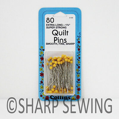 """Collins Quilting Pins 1 3/4"""" Yellow Plastic Head 80 Each #c100"""