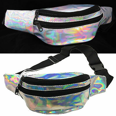 Silver Iridescent Hologram Fanny Pack Shiny Metallic Waist Bag Disco Hip Pouch