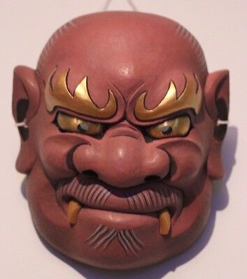 noh theatre oni japanese quality hand carved wood vampire mask with brass eyes