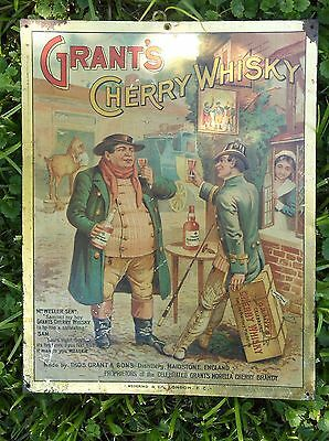 PRE-PRO Original GRANT'S CHERRY Whisky TIN Sign, 1900's - Turn of the CENTURY !!