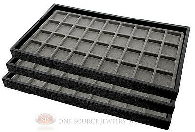 (3) Black Plastic Stackable Trays w/36 Compartments Gray Jewelry Display Insert