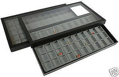 2 Complete 50 Compartment Acrylic Removable For Nicknack Organizer Display Cases