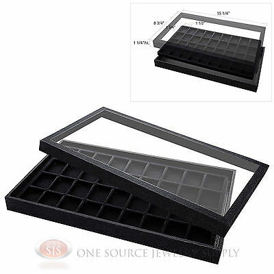 (1) Acrylic Top Display Case & (1) 36 Compartmented Black  Insert Organizer