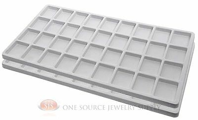 2 White Insert Tray Liners W/ 36 Compartments Drawer Organizer Jewelry Displays