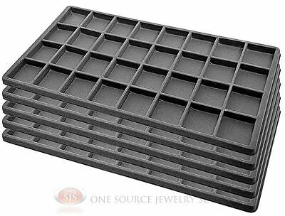 5 Gray Insert Tray Liners W/ 32 Compartments Drawer Organizer Jewelry Displays