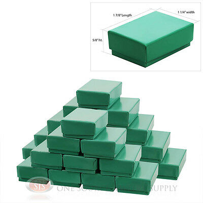 """25 Teal Blue Cotton Filled Gift Boxes 1 7/8"""" x 1 1/4"""" Ring Charm Box Jewelry"""