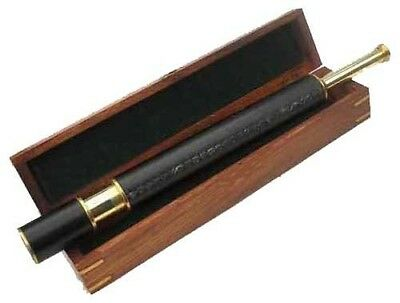 "Telescope with Wooden Storage Case 21"" Brass Leather"