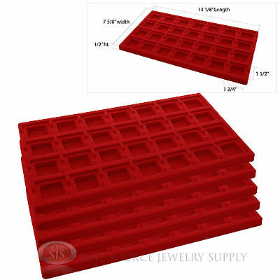 5 Red Insert Tray Liners W/ 28 Compartments Drawer Organizer Jewelry Displays