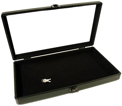 Black Aluminum Glass Top Display Storage Jewelry Case