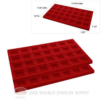 2 Red Insert Tray Liners W/ 28 Compartments Drawer Organizer Jewelry Displays