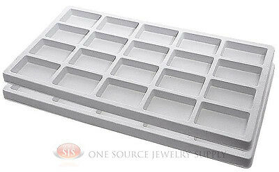2 White Insert Tray Liners W/ 20 Compartments Drawer Organizer Jewelry Displays