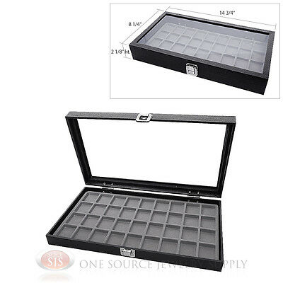 Glass Top Jewelry Organizer Display Case 36 Compartment Gray Insert Travel