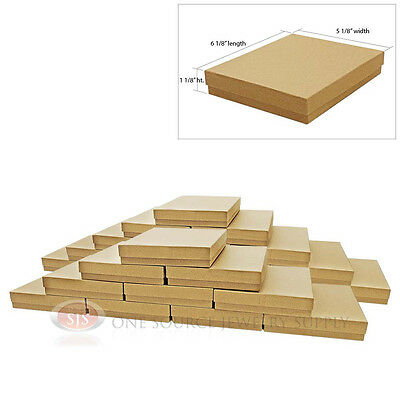"Large 25 Brown Kraft Cotton Filled Jewelry Gift Boxes 6 1/8"" x 5 1/8"" x 1 1/8""H"