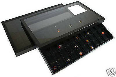 2-50 Compartment Acrylic Lid Jewelry Display Case Black