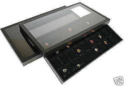 72 Compartment Acrylic Lid Jewelry Display Case Black