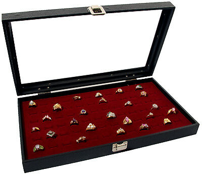 Ring Display Case Glass Top With 72 Slot Burgundy Pad