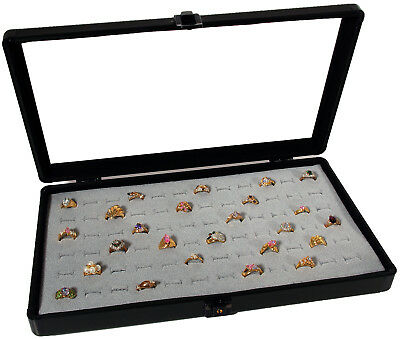 Glass Top Aluminum Jewelry Display Case W/72 Ring Pad