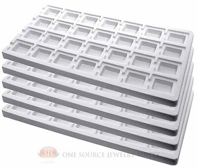 5 White Insert Tray Liners W/ 28 Compartments Drawer Organizer Jewelry Displays