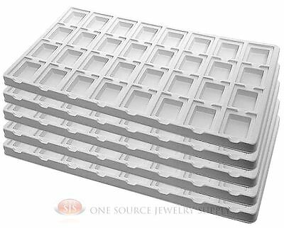 5 White Insert Tray Liners W/ 32 Compartment Earrings Organizer Jewelry Display