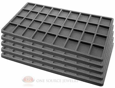 5 Gray Insert Tray Liners W/ 36 Compartments Drawer Organizer Jewelry Displays