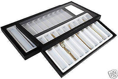 20 Slot Acrylic Lid Jewelry Display Case White Tray